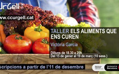 Taller teórico-práctico de Dietoterapia. Centro Cívico Urgell. 15 de enero- 19 de marzo 2018