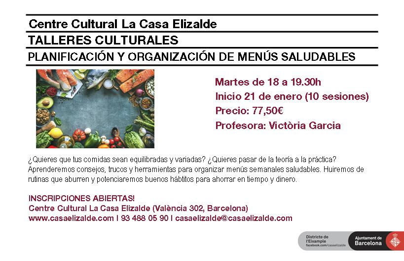 Talleres Culturales. Planificación y organización de menús saludables.